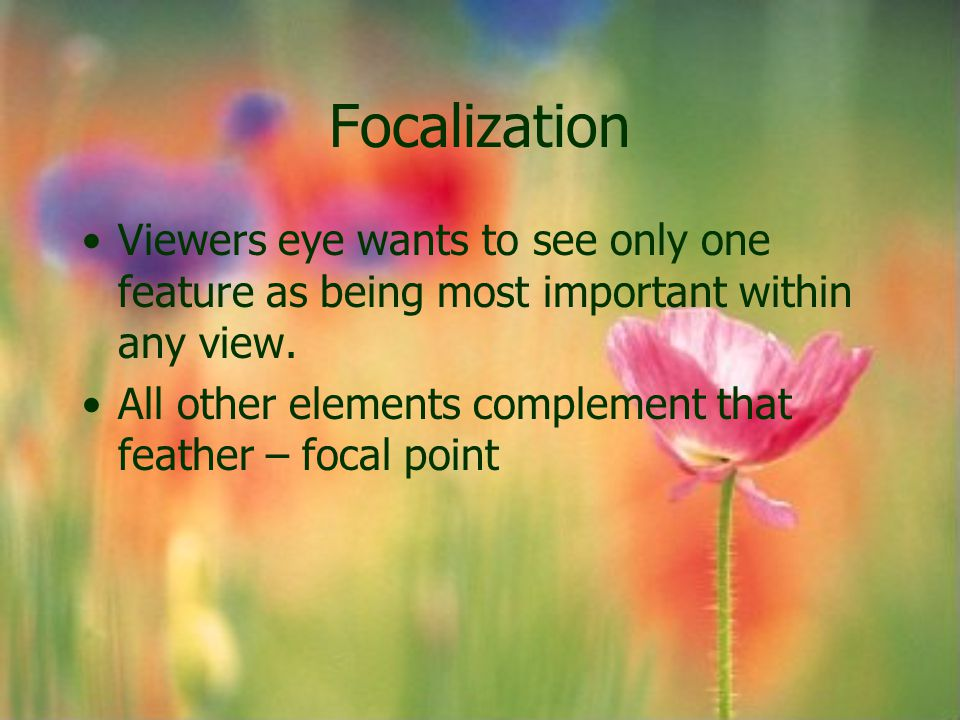 Focalization Viewers eye wants to see only one feature as being most important within any view.