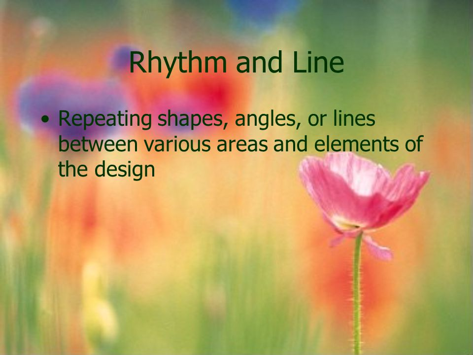 Rhythm and Line Repeating shapes, angles, or lines between various areas and elements of the design