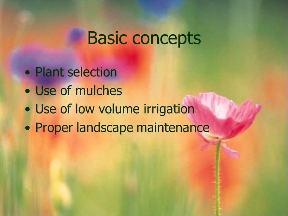 Basic concepts Plant selection Use of mulches