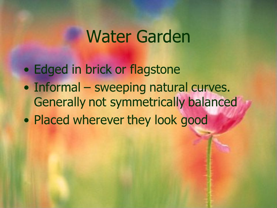 Water Garden Edged in brick or flagstone