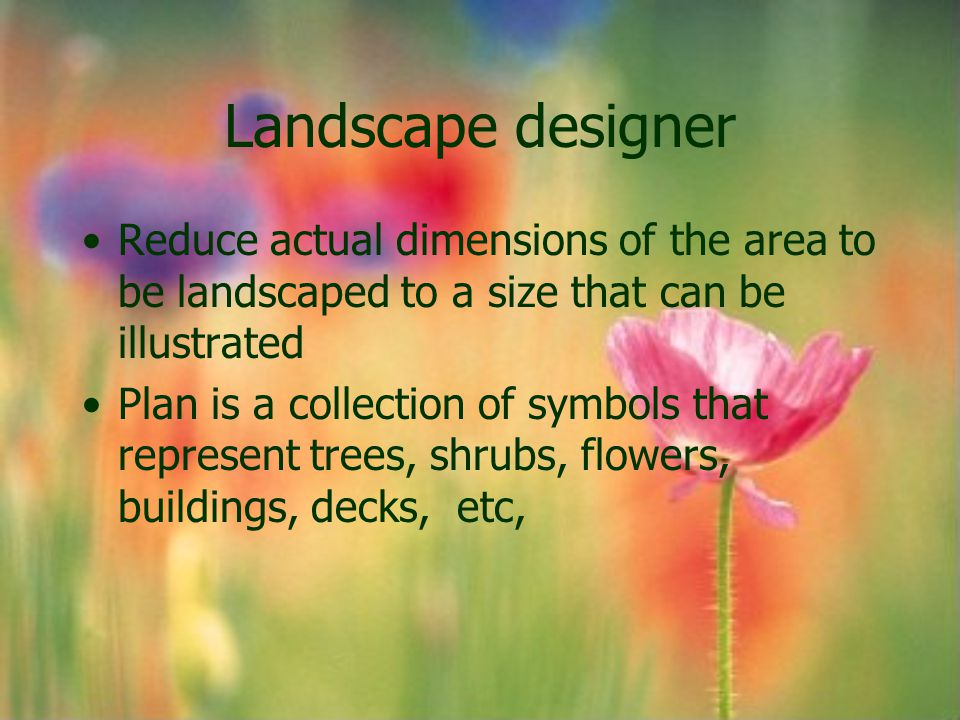 Landscape designer Reduce actual dimensions of the area to be landscaped to a size that can be illustrated.