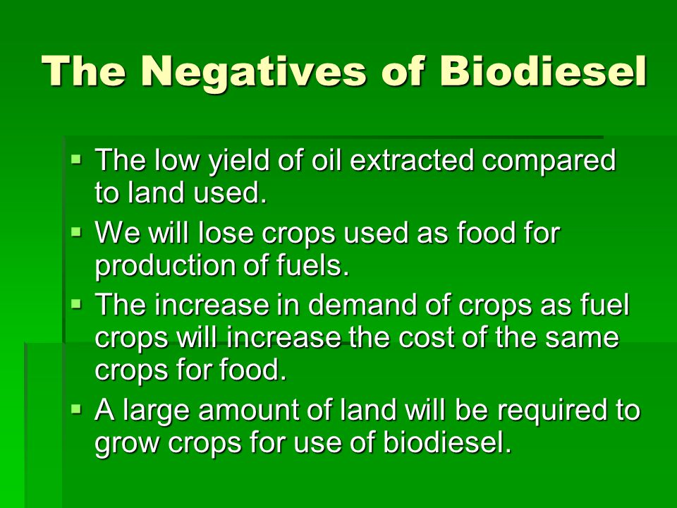 The Negatives of Biodiesel