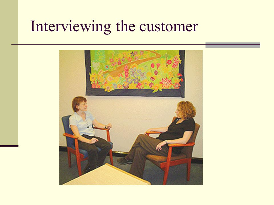Interviewing the customer