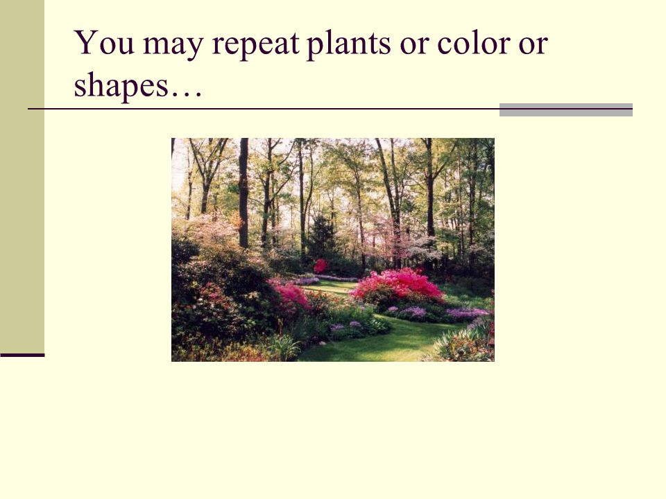 You may repeat plants or color or shapes…