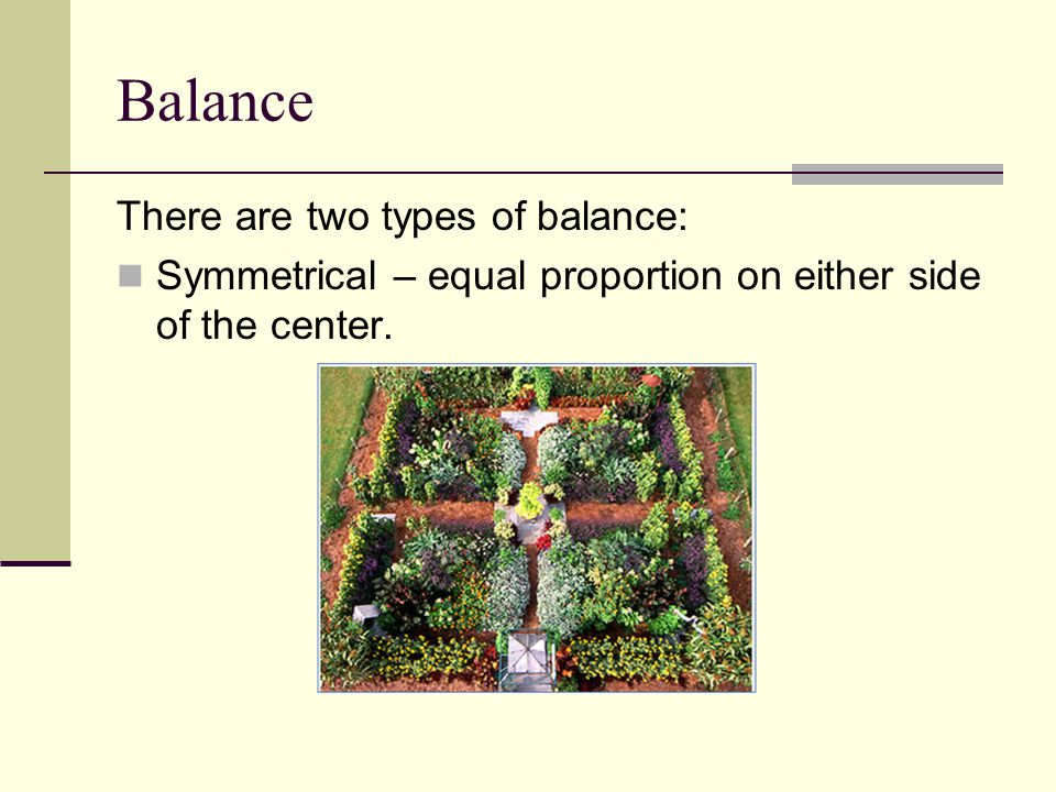 Balance There are two types of balance: