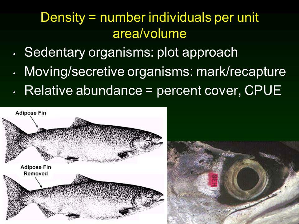Density = number individuals per unit area/volume