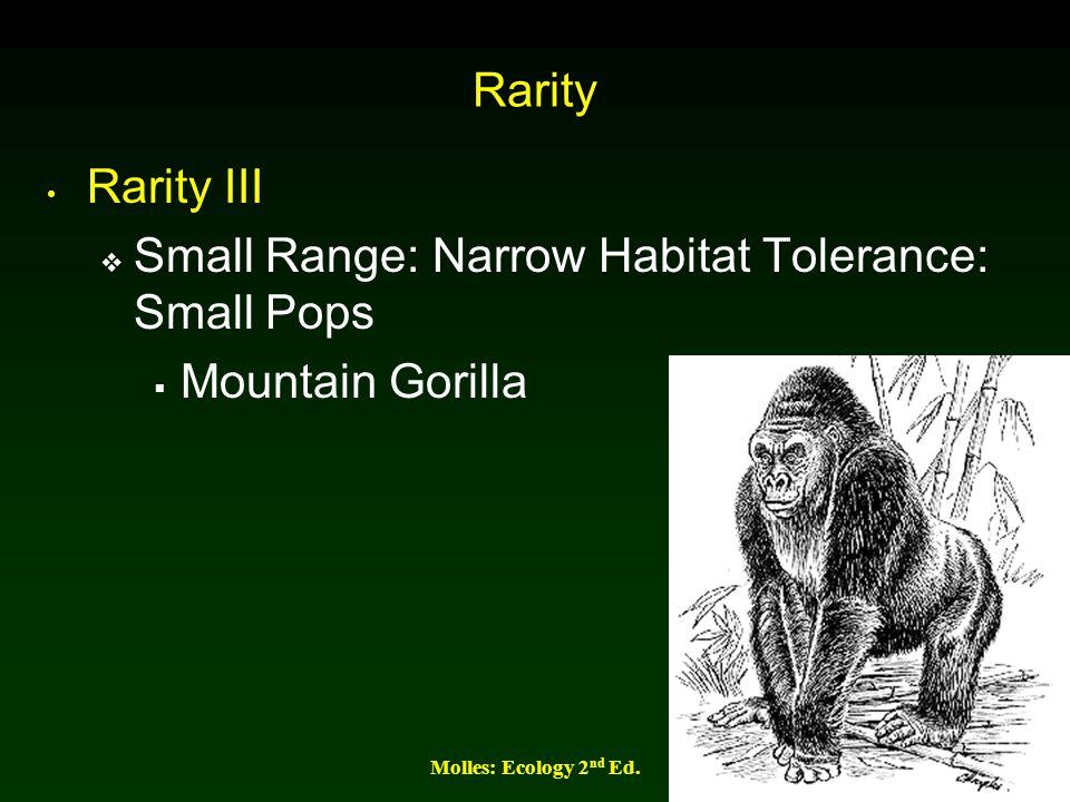 Small Range: Narrow Habitat Tolerance: Small Pops Mountain Gorilla