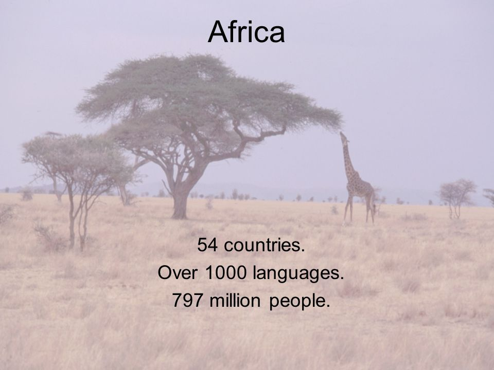 Africa 54 countries. Over 1000 languages. 797 million people.