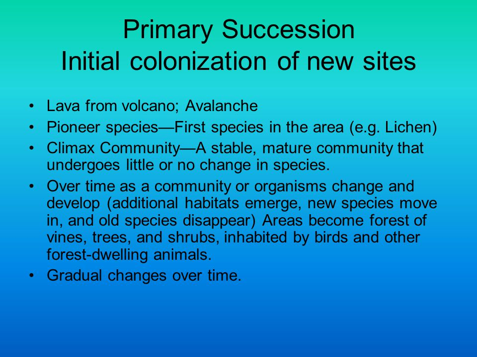Primary Succession Initial colonization of new sites