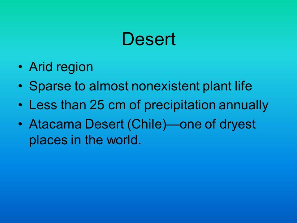 Desert Arid region Sparse to almost nonexistent plant life