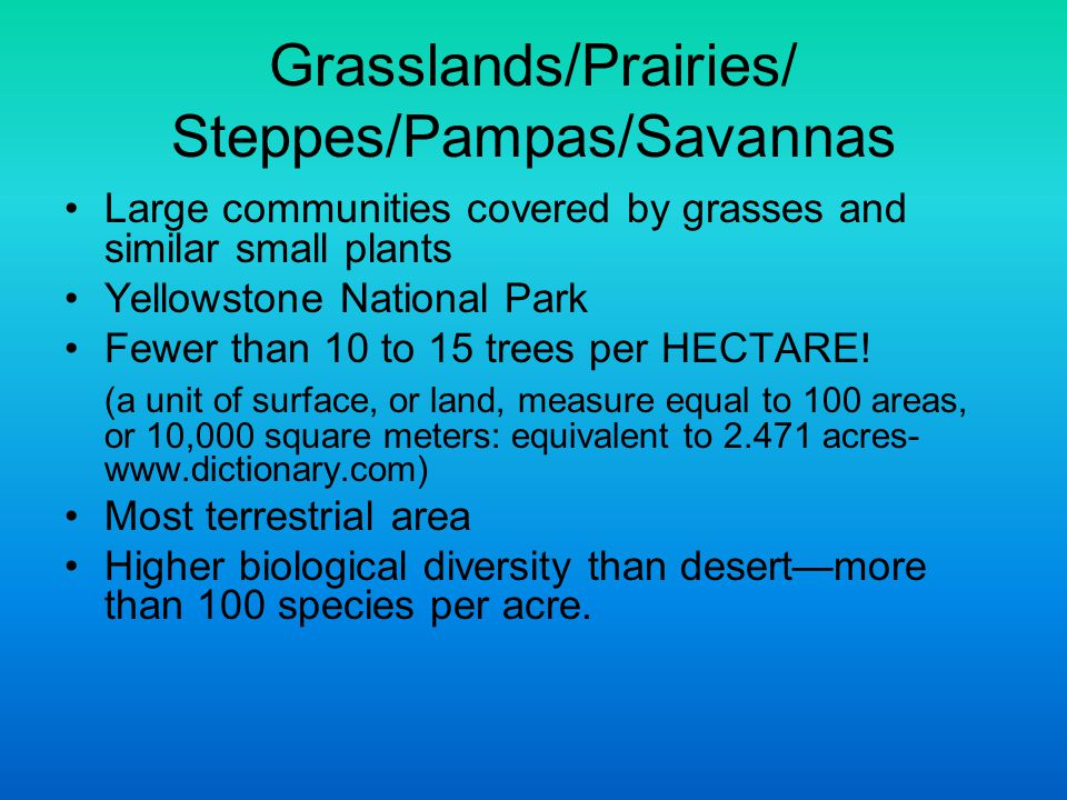 Grasslands/Prairies/ Steppes/Pampas/Savannas