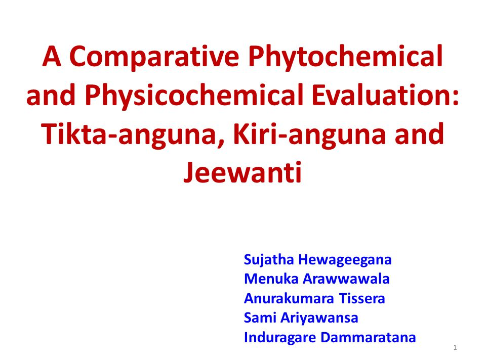 A Comparative Phytochemical and Physicochemical Evaluation: Tikta-anguna, Kiri-anguna and Jeewanti