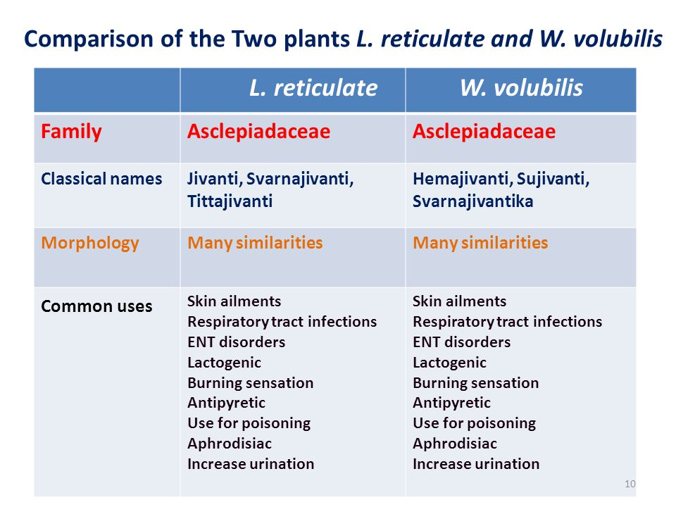 Comparison of the Two plants L. reticulate and W. volubilis