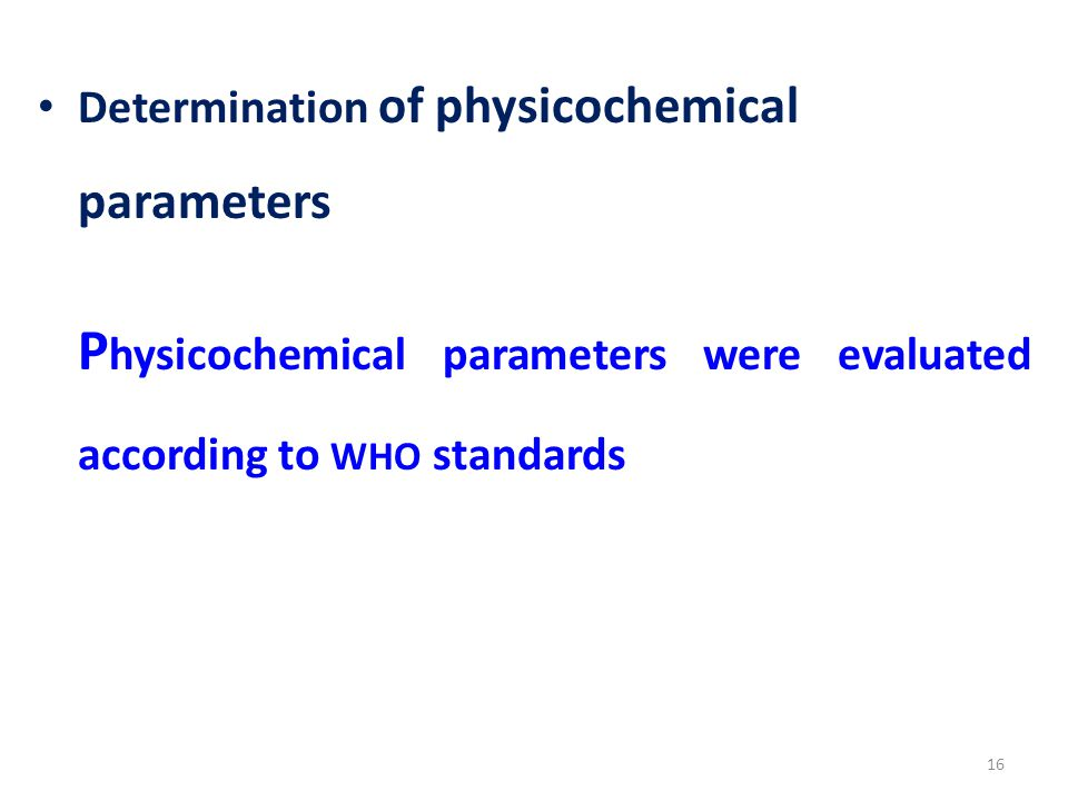 Physicochemical parameters were evaluated according to WHO standards
