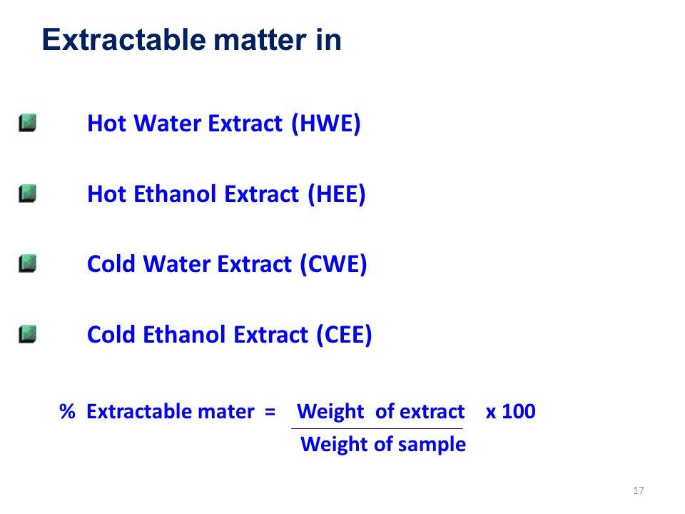 Extractable matter in Hot Water Extract (HWE)