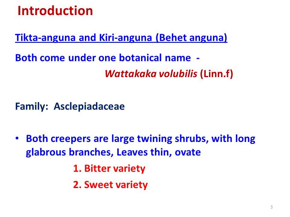Introduction Tikta-anguna and Kiri-anguna (Behet anguna)
