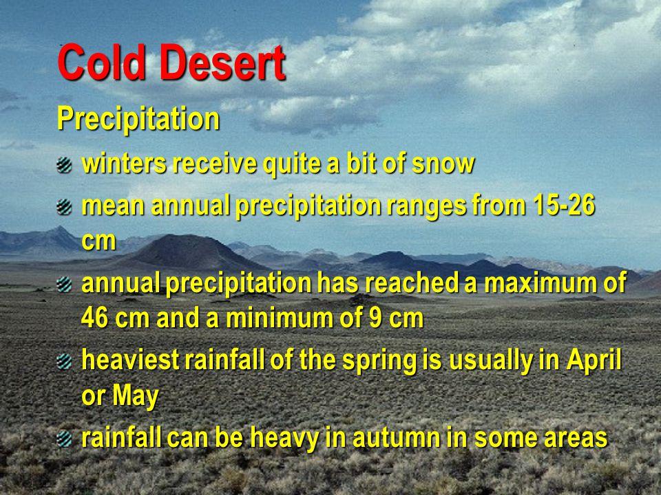 Cold Desert Precipitation winters receive quite a bit of snow