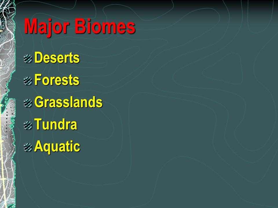 Major Biomes Deserts Forests Grasslands Tundra Aquatic