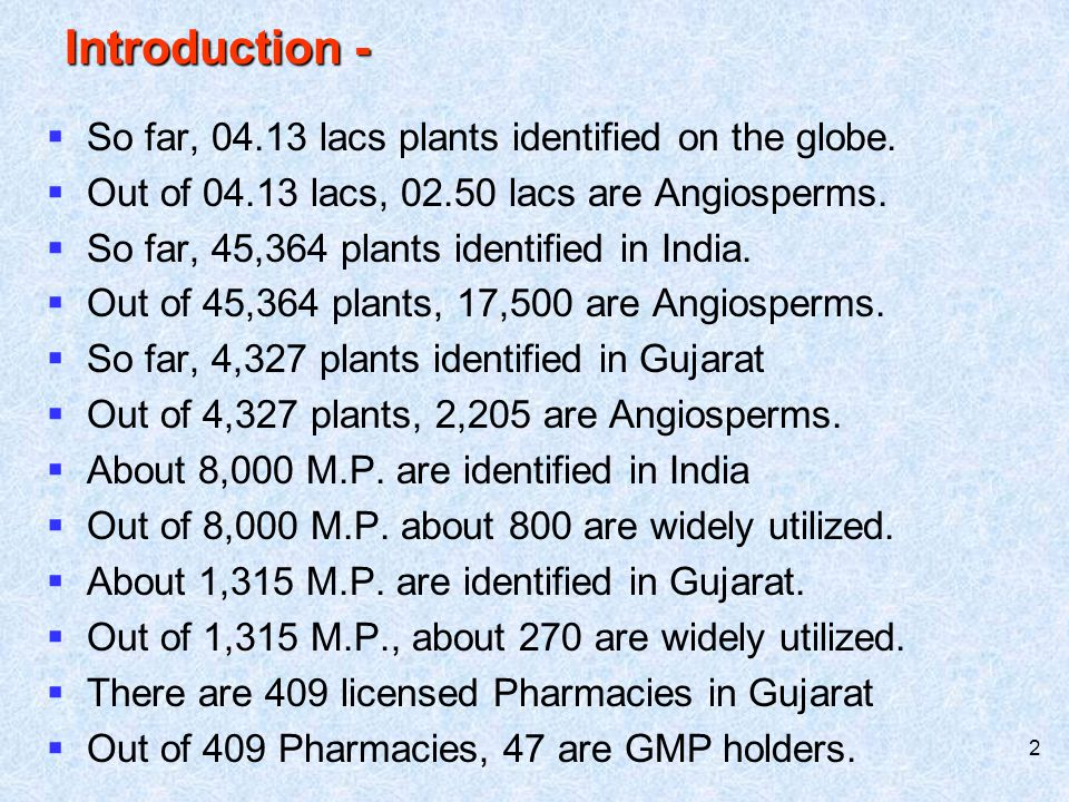 Introduction - So far, 04.13 lacs plants identified on the globe.