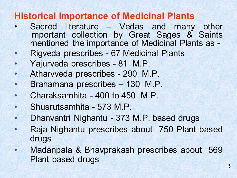 Historical Importance of Medicinal Plants