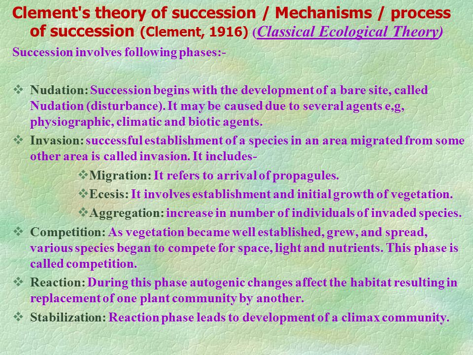 Clement s theory of succession / Mechanisms / process of succession (Clement, 1916) (Classical Ecological Theory)