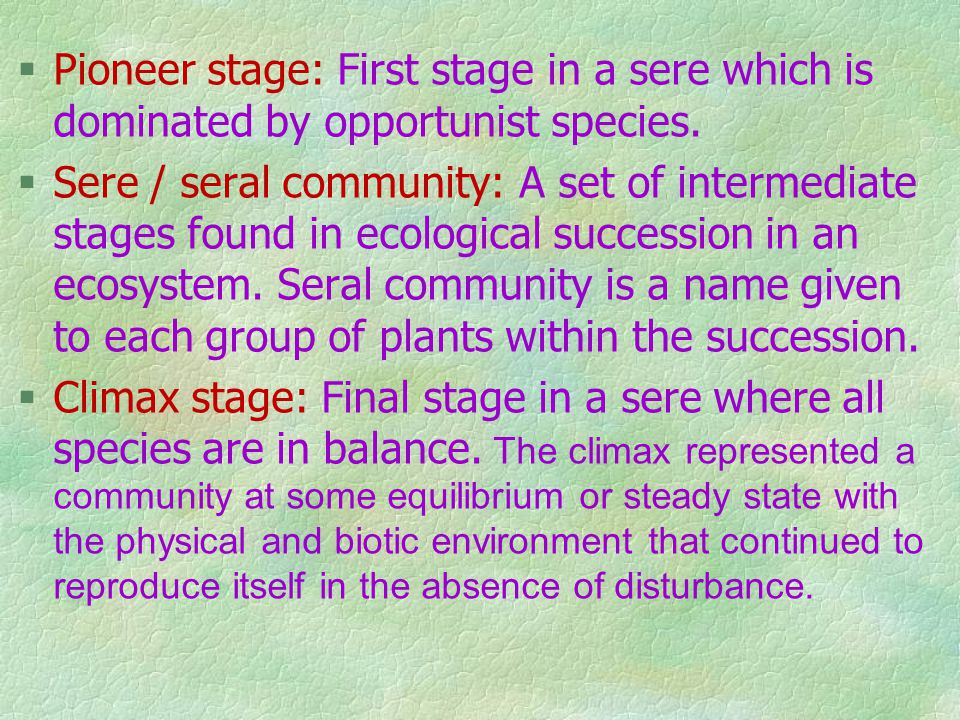 Pioneer stage: First stage in a sere which is dominated by opportunist species.