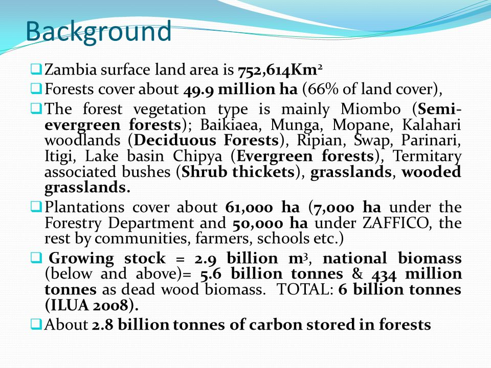 Background Zambia surface land area is 752,614Km2