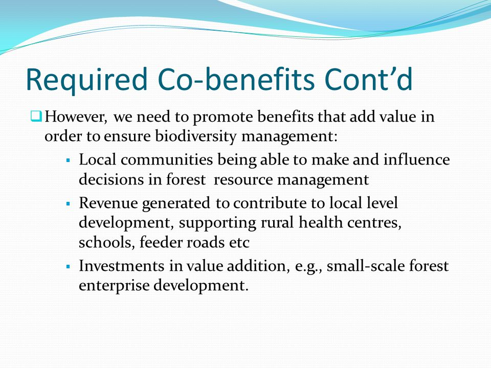 Required Co-benefits Cont'd