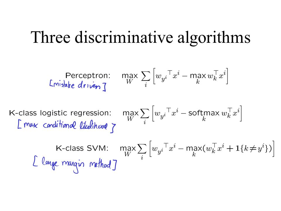 Three discriminative algorithms