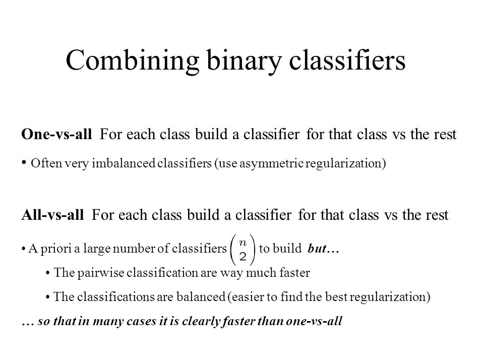 Combining binary classifiers