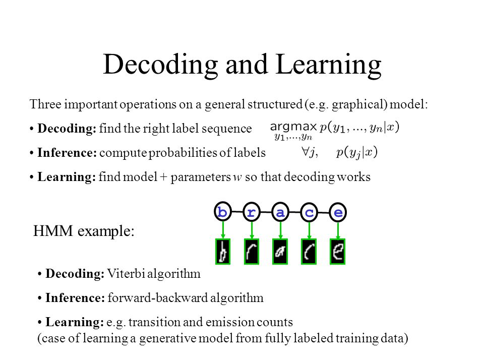 Decoding and Learning b r a c e HMM example: