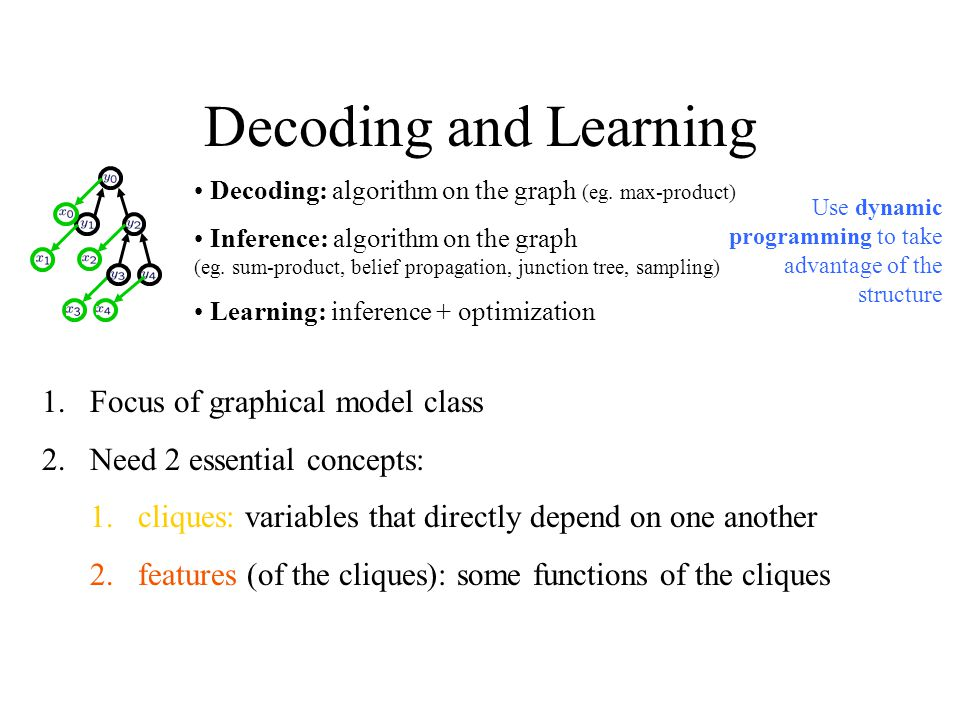Decoding and Learning Focus of graphical model class