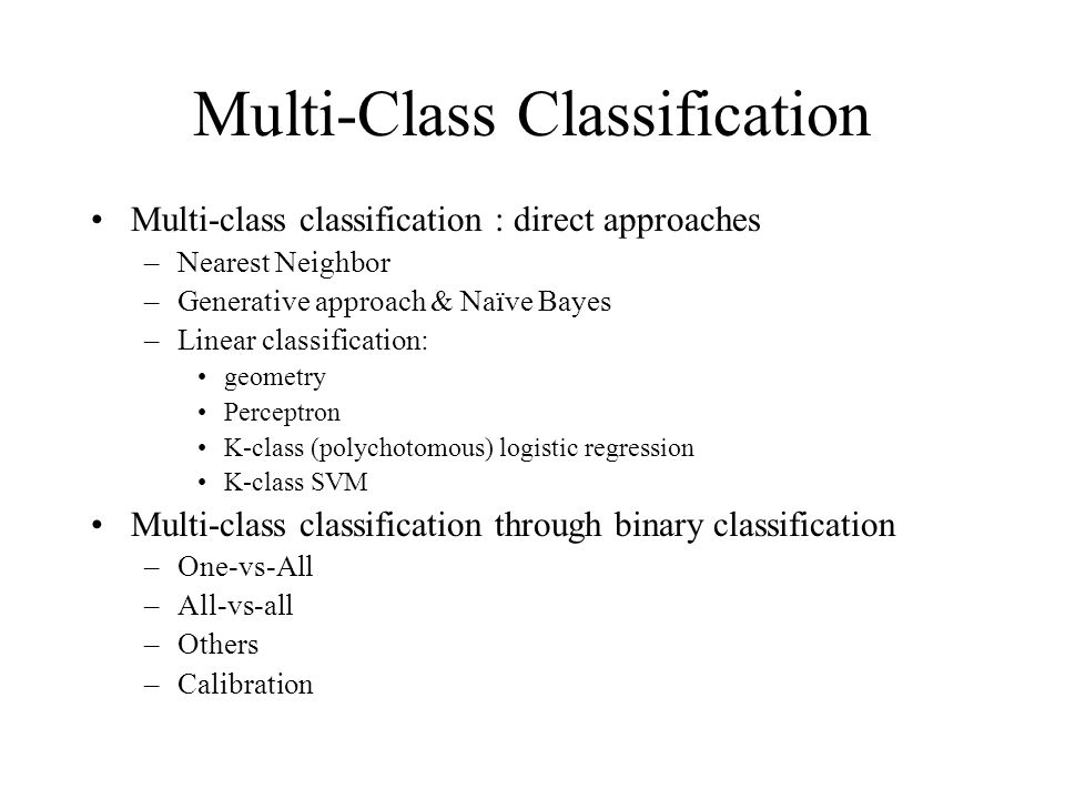 Multi-Class Classification