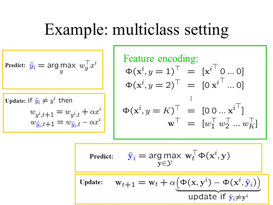 Example: multiclass setting