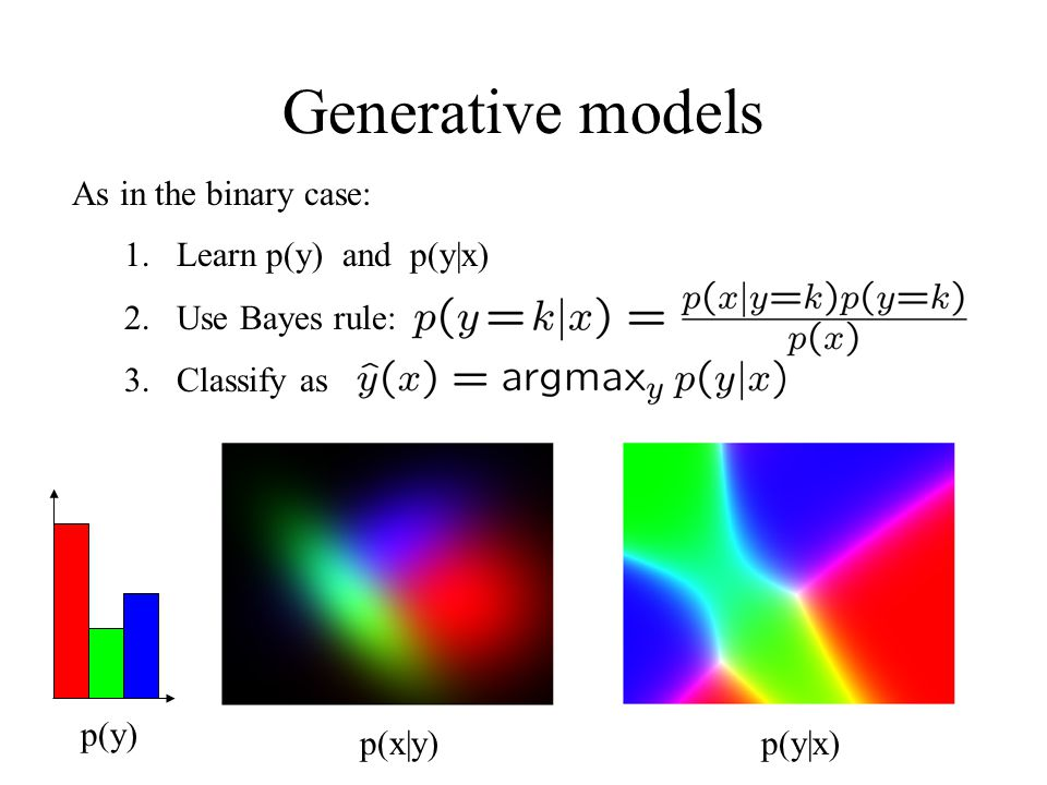 Generative models As in the binary case: Learn p(y) and p(y|x)