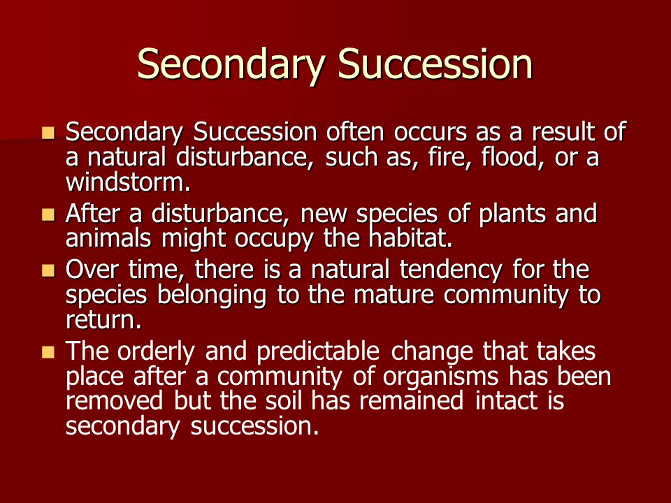Secondary Succession Secondary Succession often occurs as a result of a natural disturbance, such as, fire, flood, or a windstorm.