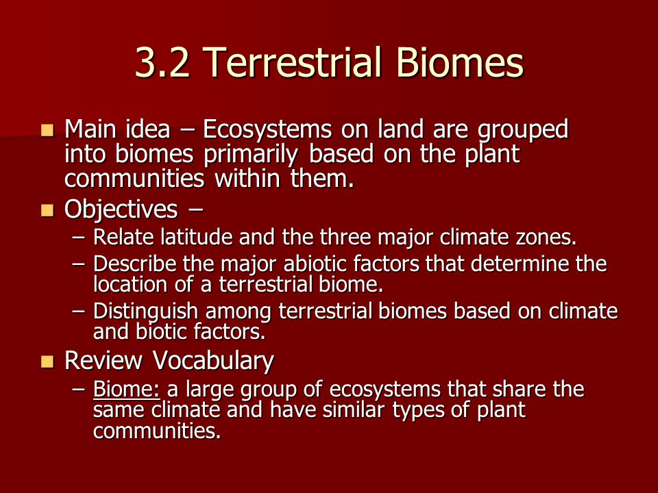 3.2 Terrestrial Biomes Main idea – Ecosystems on land are grouped into biomes primarily based on the plant communities within them.