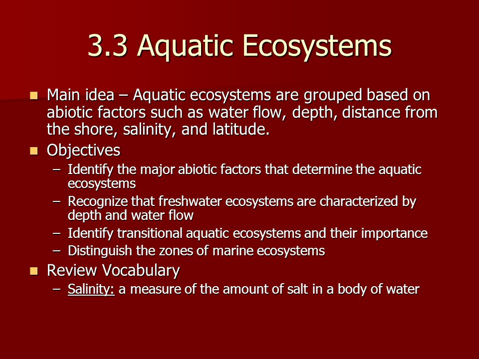 3.3 Aquatic Ecosystems