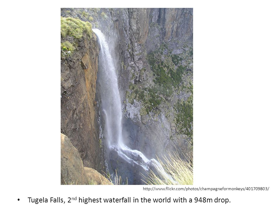 Tugela Falls, 2nd highest waterfall in the world with a 948m drop.
