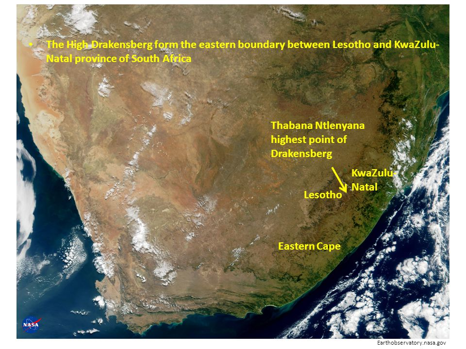 The High Drakensberg form the eastern boundary between Lesotho and KwaZulu-Natal province of South Africa