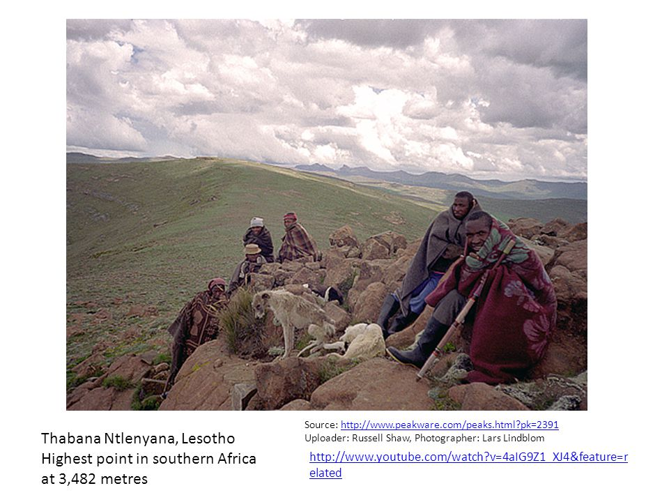 Thabana Ntlenyana, Lesotho Highest point in southern Africa