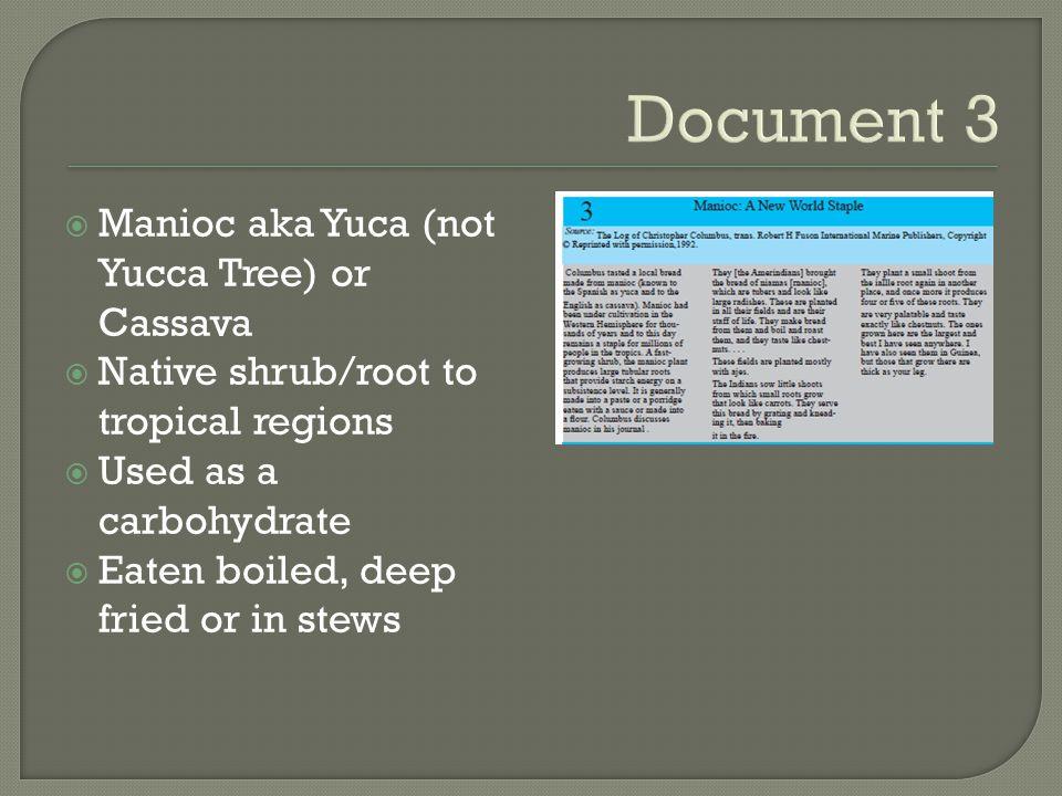 Document 3 Manioc aka Yuca (not Yucca Tree) or Cassava