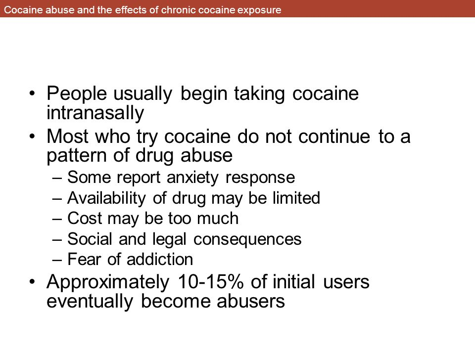 Cocaine abuse and the effects of chronic cocaine exposure