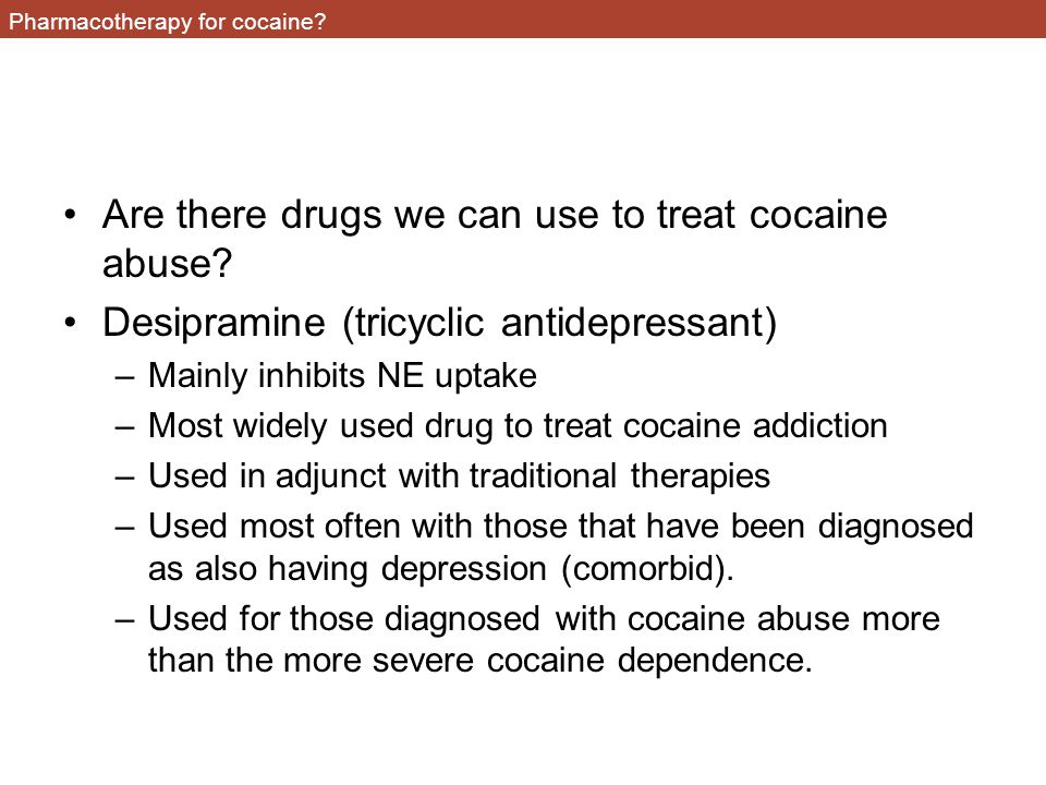 Pharmacotherapy for cocaine