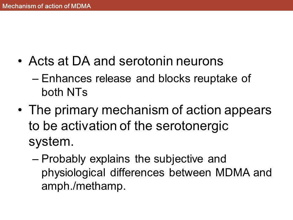 Mechanism of action of MDMA