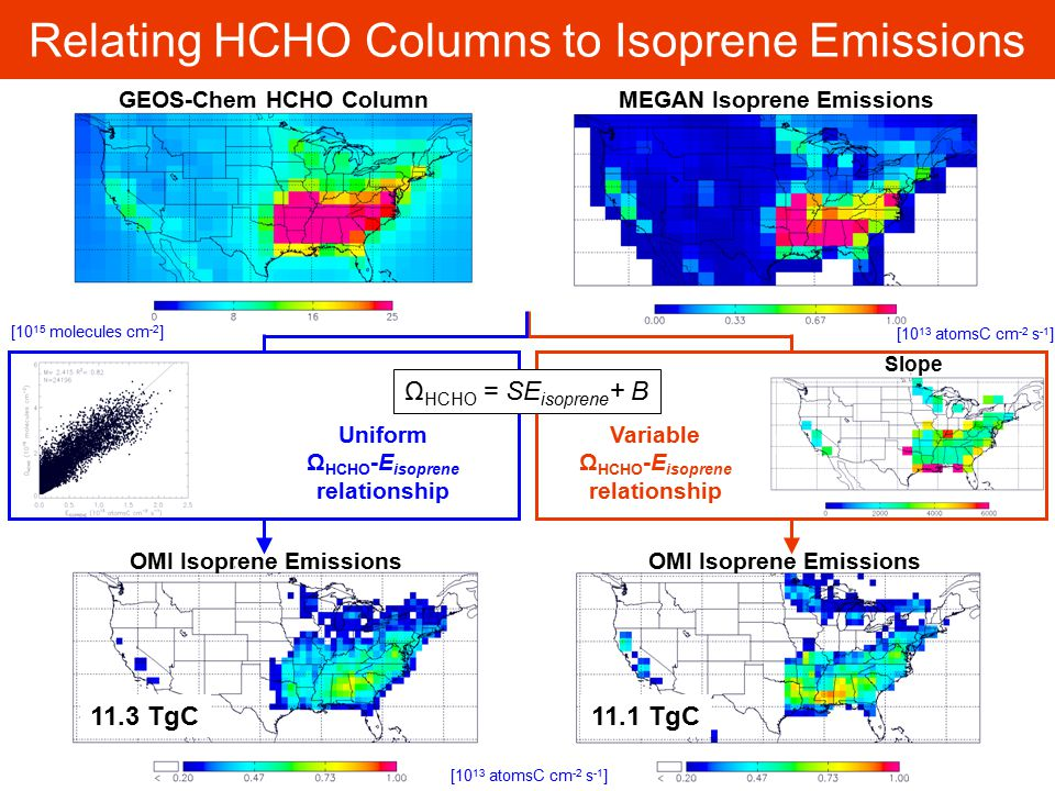 Relating HCHO Columns to Isoprene Emissions