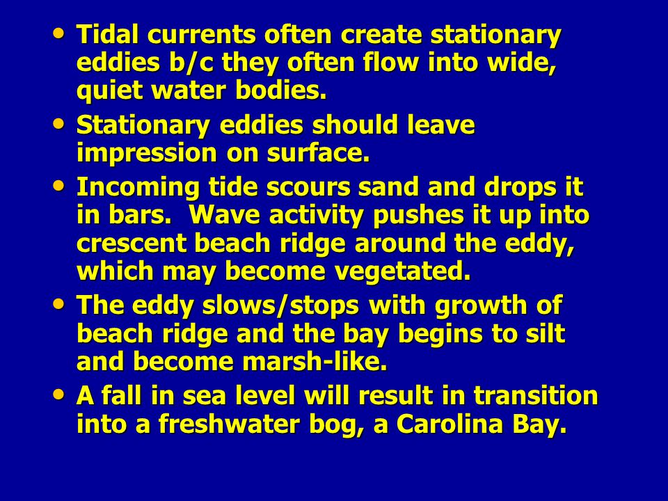 Tidal currents often create stationary eddies b/c they often flow into wide, quiet water bodies.