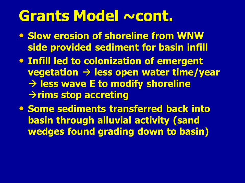 Grants Model ~cont. Slow erosion of shoreline from WNW side provided sediment for basin infill.