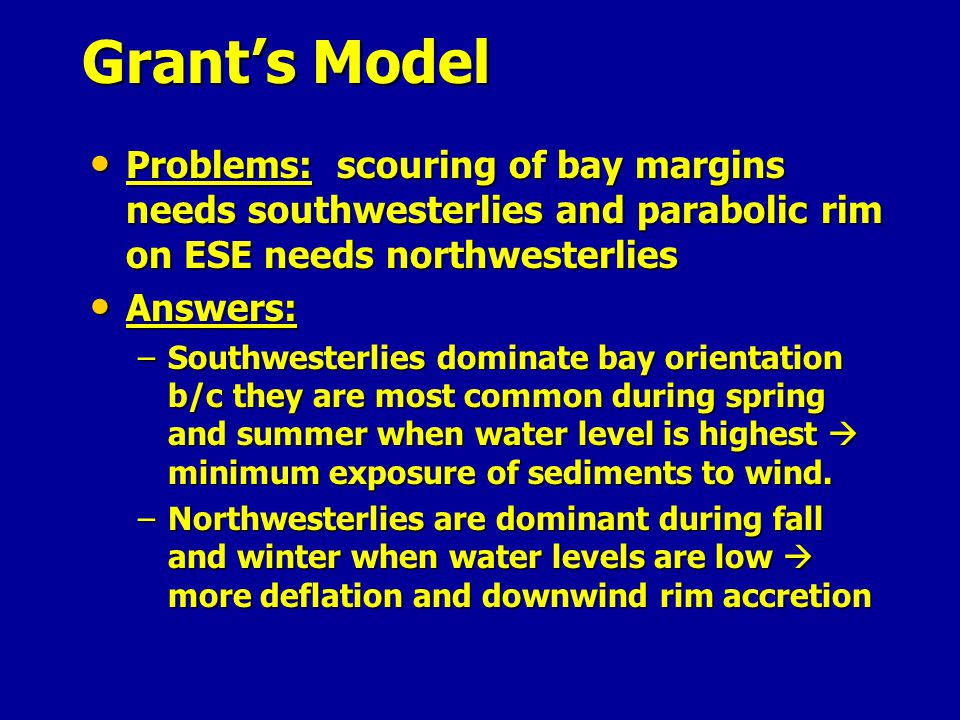 Grant's Model Problems: scouring of bay margins needs southwesterlies and parabolic rim on ESE needs northwesterlies.