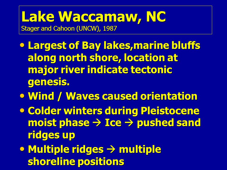Lake Waccamaw, NC Stager and Cahoon (UNCW), 1987